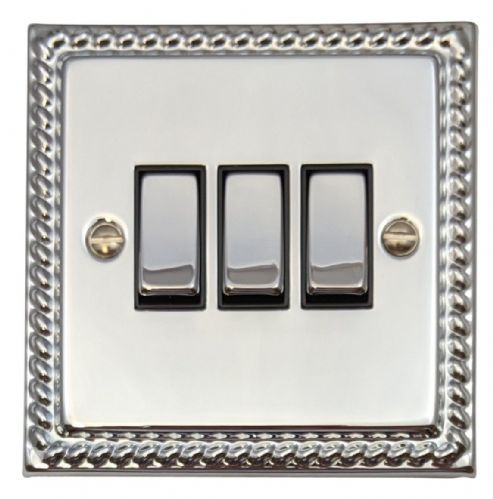 G&H MC303 Monarch Roped Polished Chrome 3 Gang 1 or 2 Way Rocker Light Switch